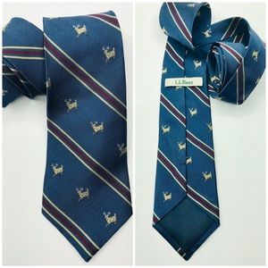LL Bean Tie Novelty Deer Silk Red Blue Striped